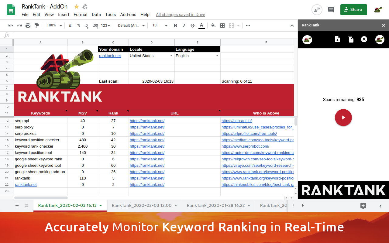 Free keyword position rank checker google sheet addon