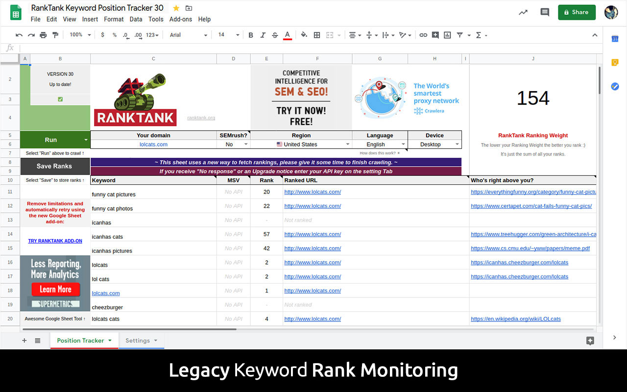 Free keyword position rank checker legacy google sheet