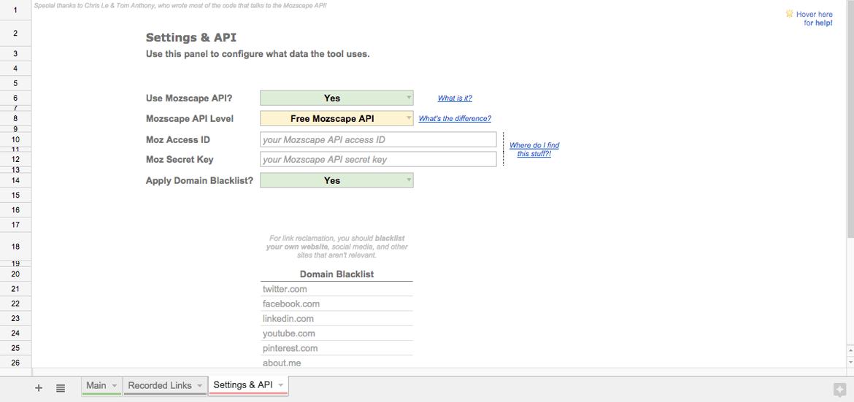 Free link reclamation SEO tool settings tab